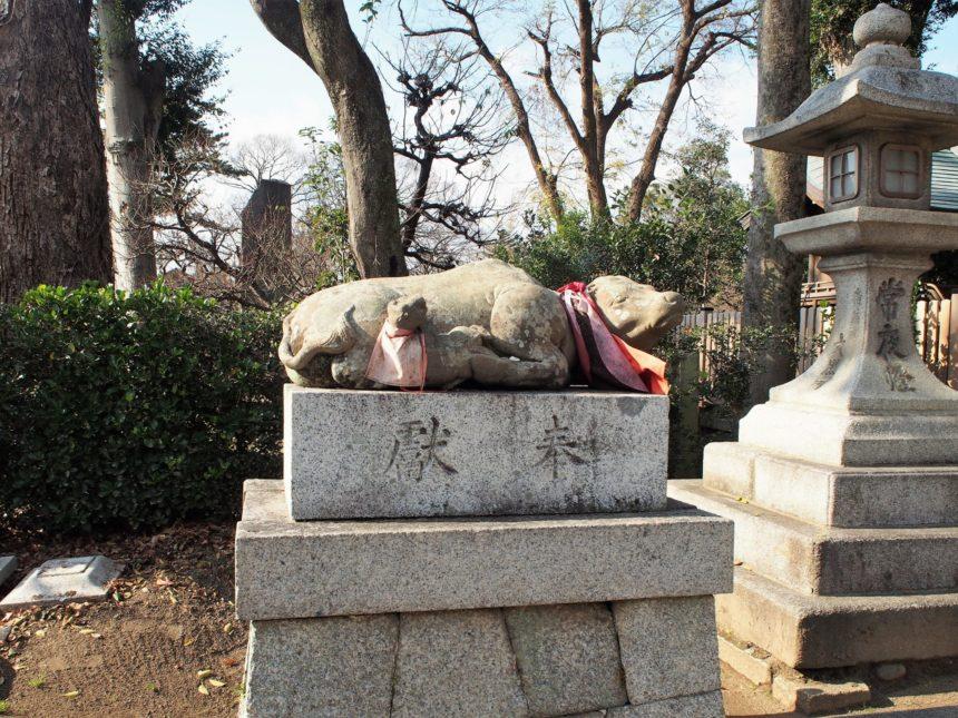 様々な形・年代の牛の像だが全て臥せて拝殿に向いている