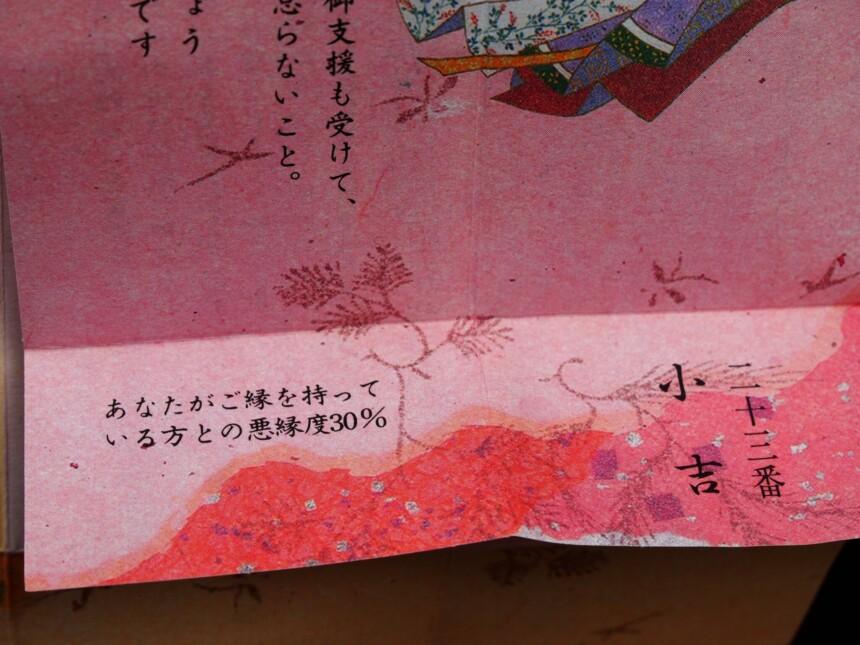 縁みくじの「小吉」の隣に書かれた「悪縁度30%」