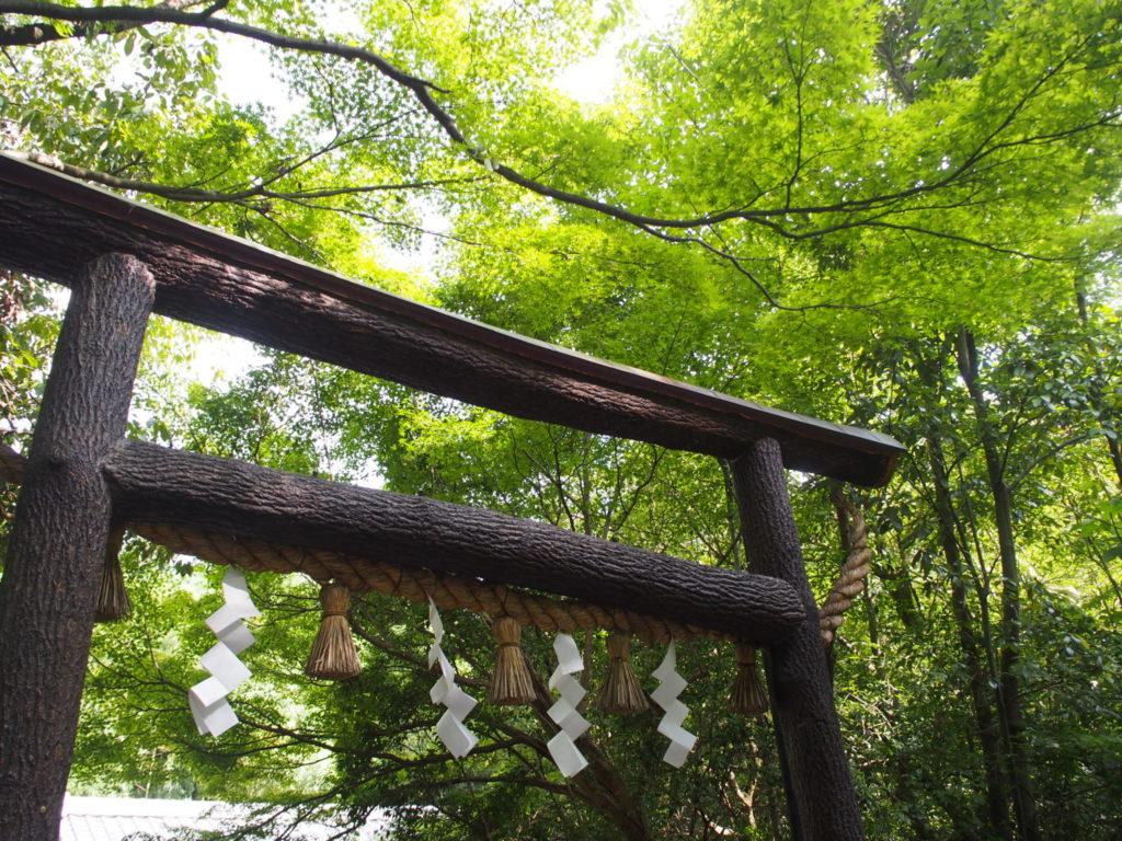 樹皮のついたままの「黒木鳥居」