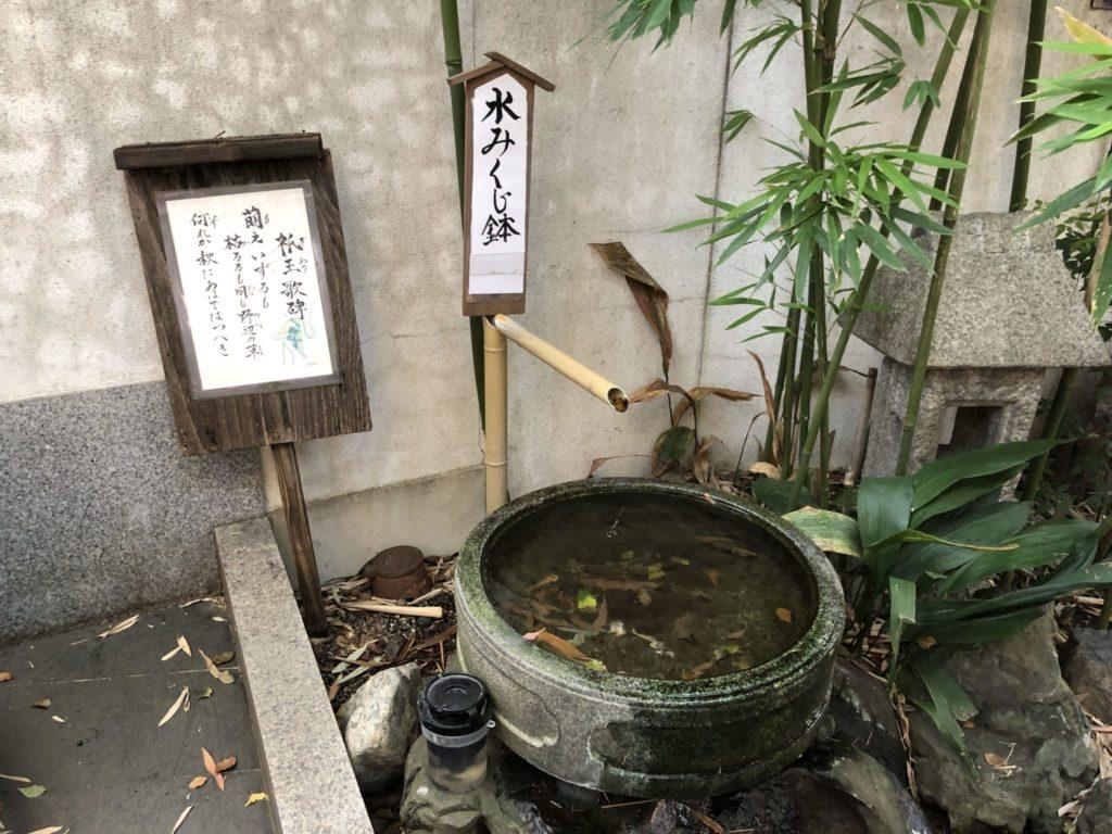 水みくじを浮かべる鉢