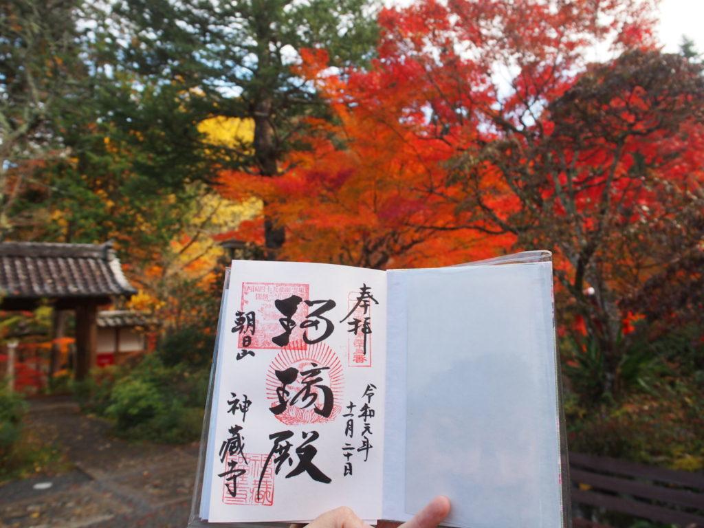 神蔵寺の御朱印、紅葉をバックに撮影