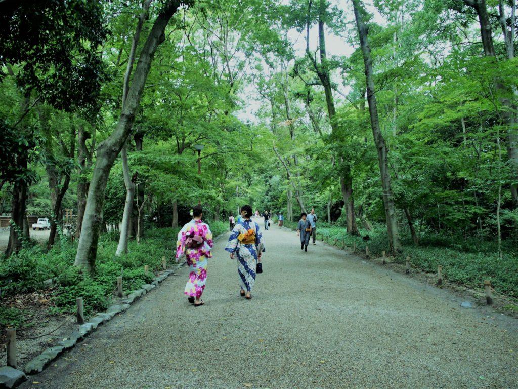 本殿に続く参道は糺の森のパワーを感じます
