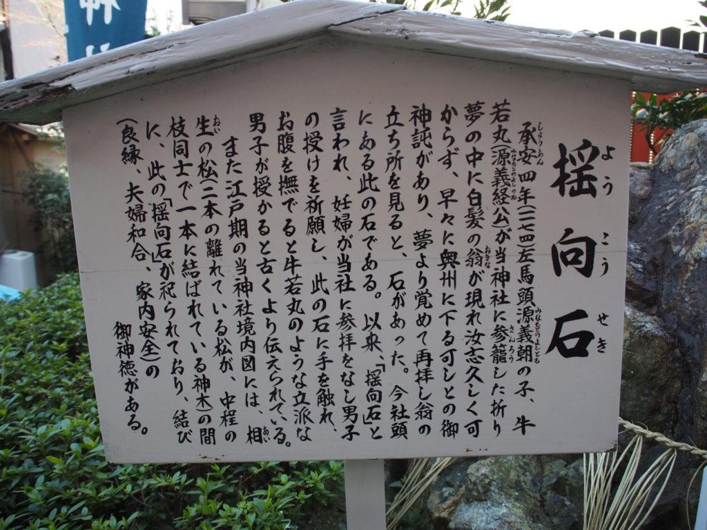三嶋神社の「揺向石」の説明書き
