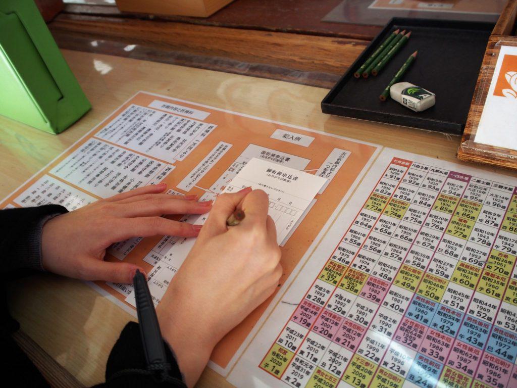 石清水八幡宮の祈祷受付所で祈祷申込書を記入