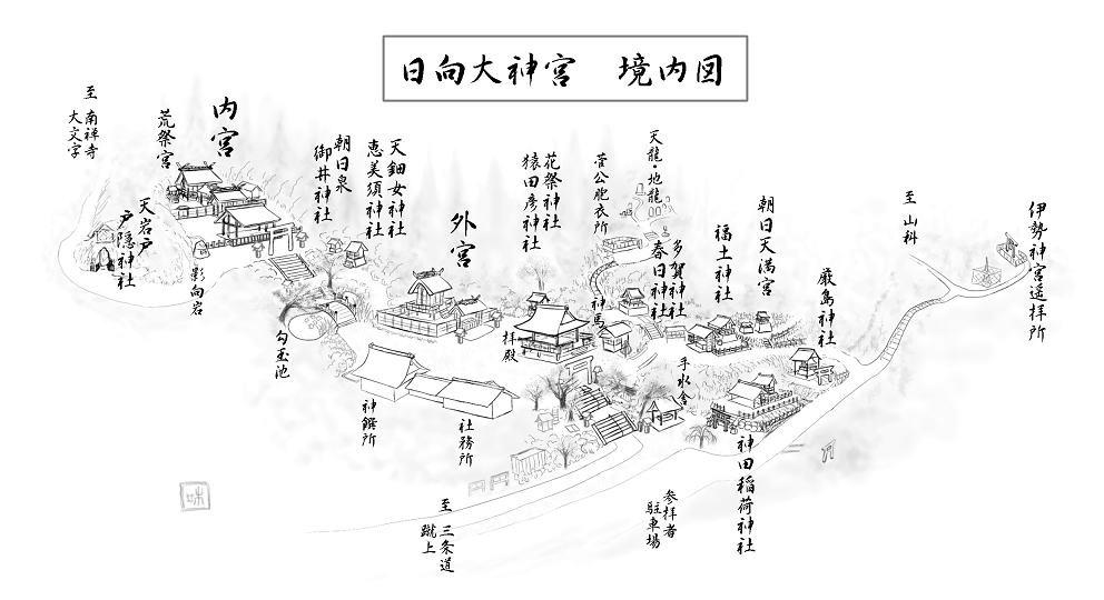 日向大神宮の境内図