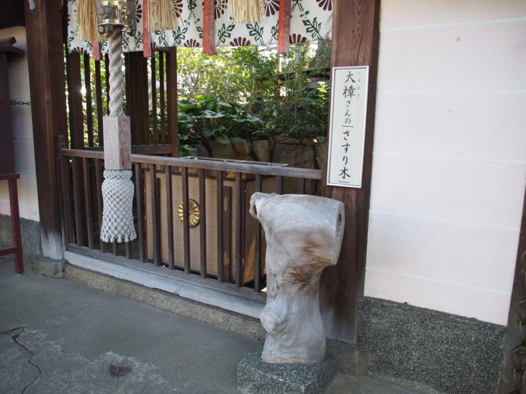 新熊野神社の樟社の「さすり木」