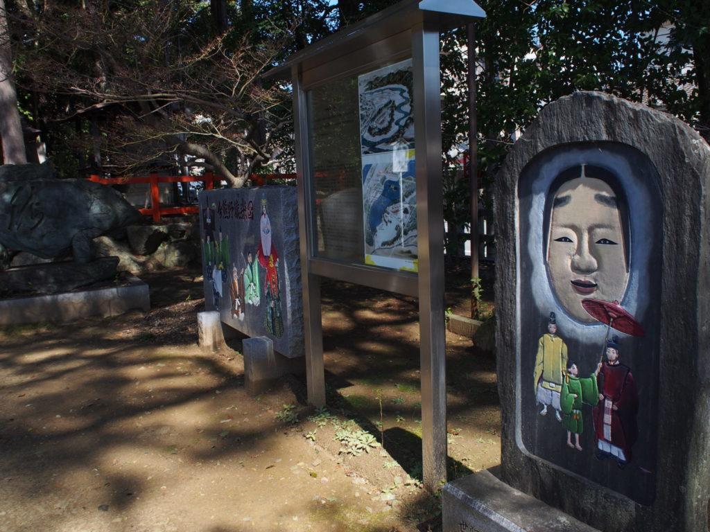 観阿弥と世阿弥と将軍そして能面が描かれた石碑