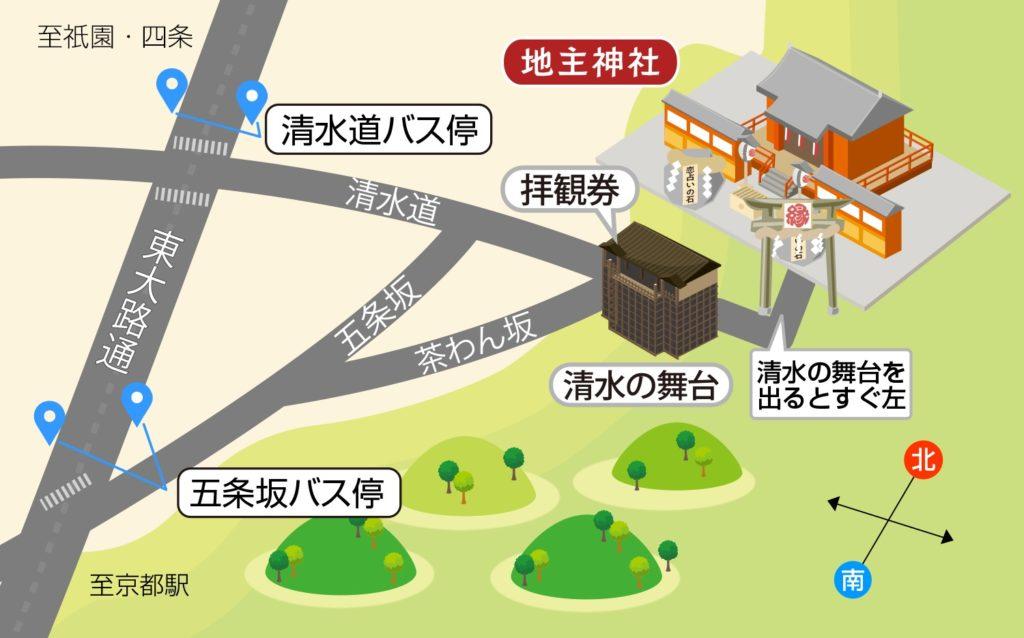地主神社のマップ