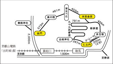 鞍馬寺の案内マップ