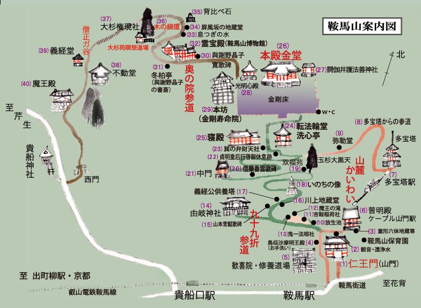 鞍馬寺の全体マップ