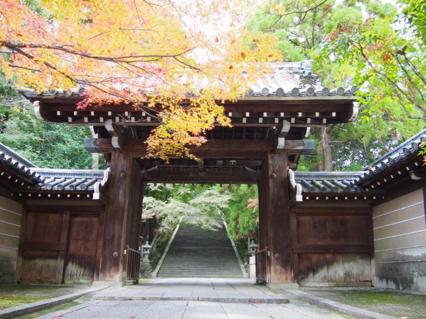 法輪寺の境内へと続く山門と石段