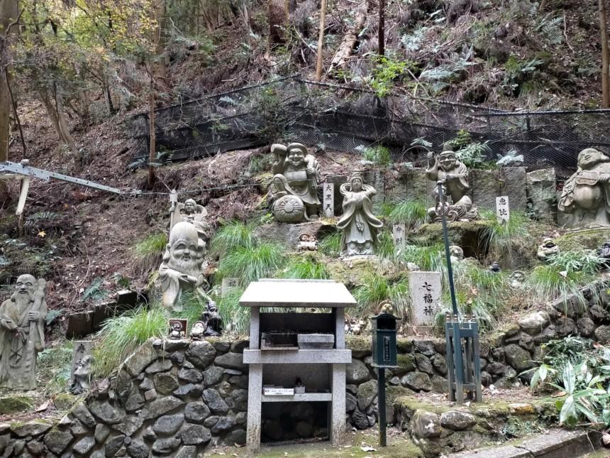 狸谷山不動院で、七福神がそろってお出迎え